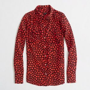 J. Crew Printed Silk Two-pocket Blouse